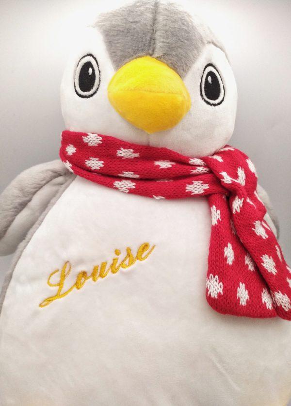 peluche pingouin brodée