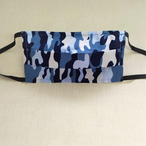 masque à motif camouflage bleu