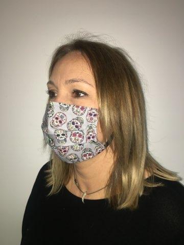 masque tetes de mort mexicaines gris
