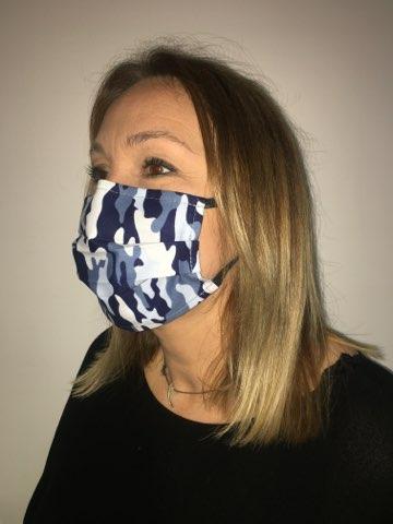 masque covid bleu camoflage
