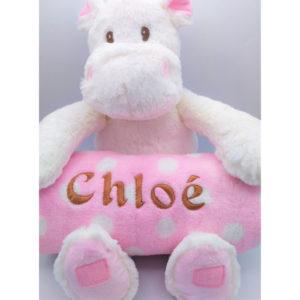 peluche hippopotame rose personnalisable