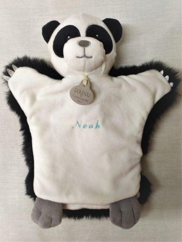 marionnette panda brodée