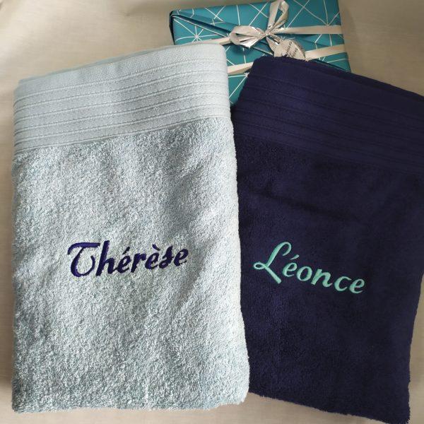 drap bain bleu prénom