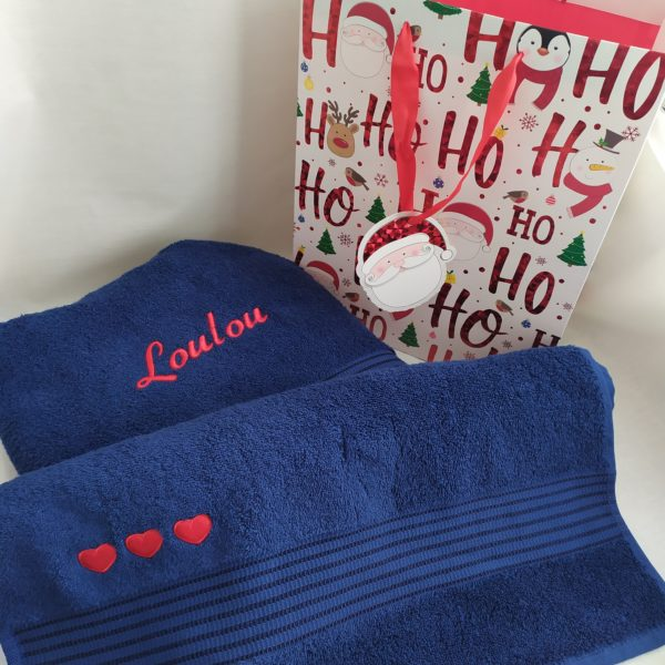 serviettes bleues personnalisées